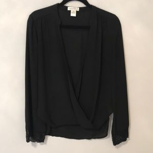 Black Blouse with lace-trimmed sleeves